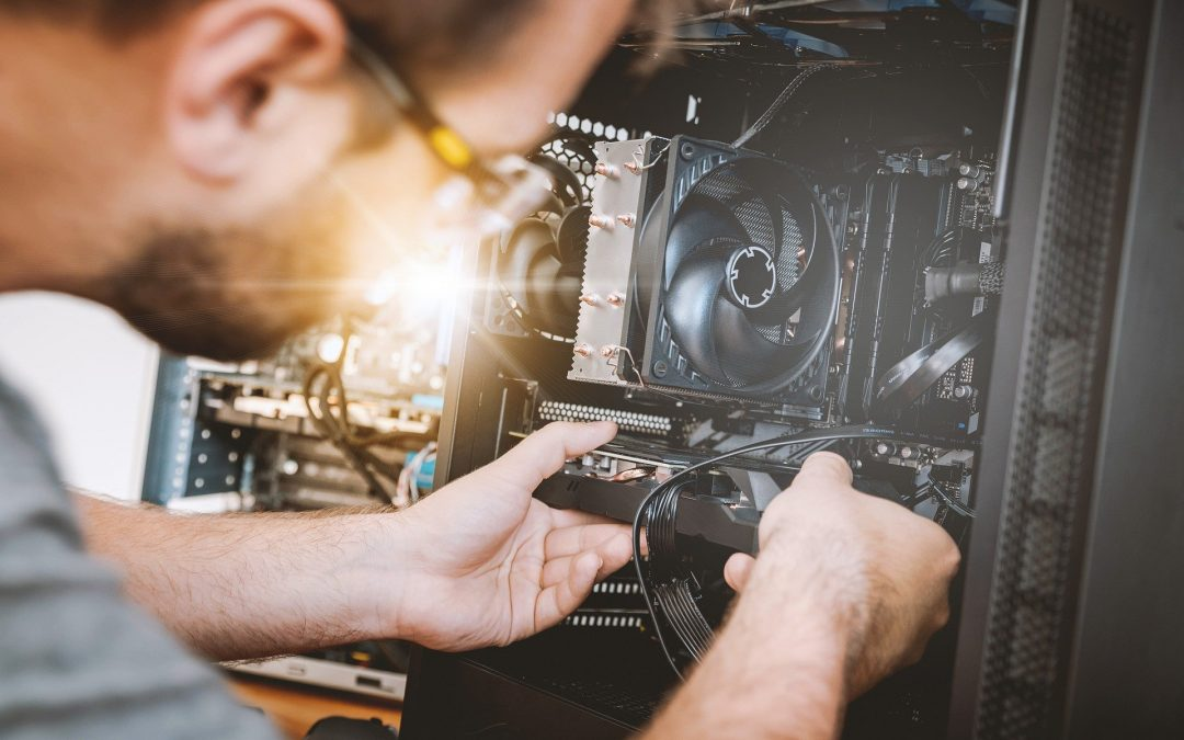 technician checking CPU